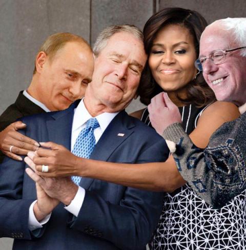 Обійми Обами з Бушем стали мемом (ФОТО)