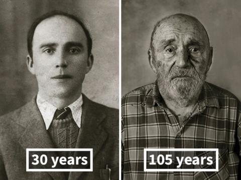 «Обличчя століття»: столітні довгожителі в молодості і зараз (ФОТО)