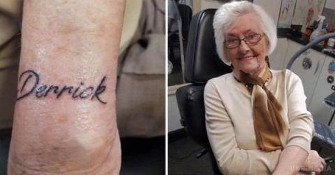 У Великобританії старенька зробила своє перше татуювання, як пам'ять про свого чоловіка (ФОТО)