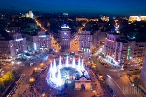 Музичні фонтани на Майдані Незалежності у Києві показали з висоти польоту дрона (ВІДЕО)