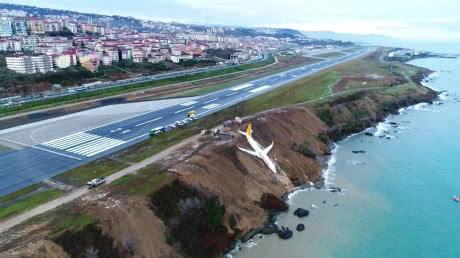 У Туреччині пасажирський літак з'їхав зі злітної смуги і ледь не впав у море