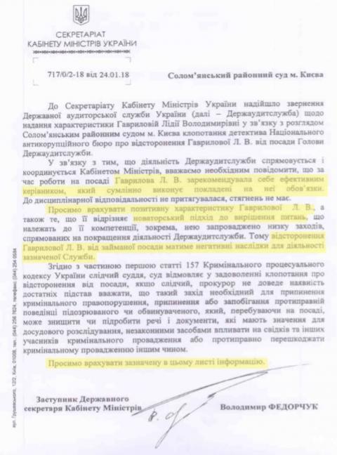 Кабмін відбілював на суді голову Аудитслужби: опубліковано текст листа