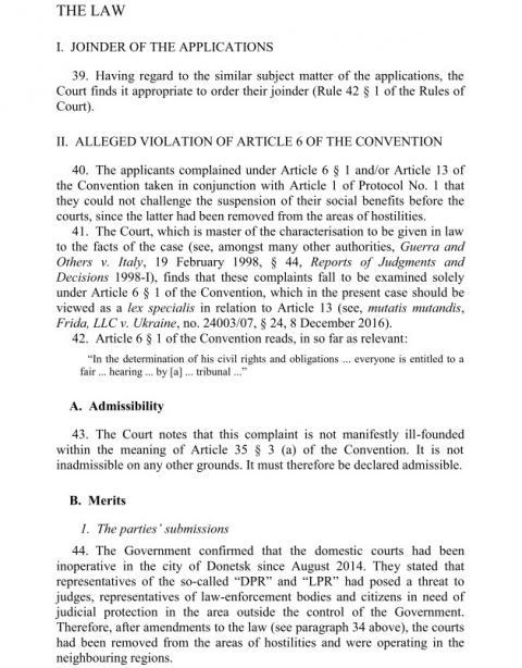 Вердикт ЄСПЛ: Україна не відповідає за те, що в ОРДЛО немає судів