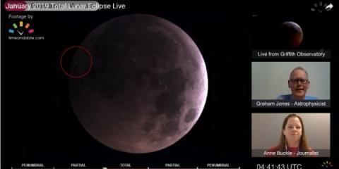 Під час трансляції затемнення Місяця на нього впав метеорит