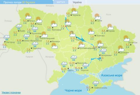 Погода в Україні: До +16°, дощі та мокрий сніг
