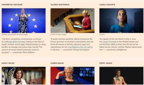 Всесвітньо відома газета внесла Гонтареву у список жінок року