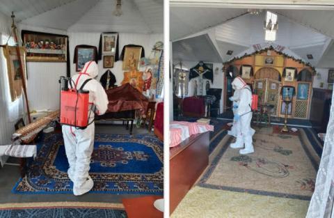 Коронавірус: рятувальники знезаразили автовокзал і церкву в Радомишлі