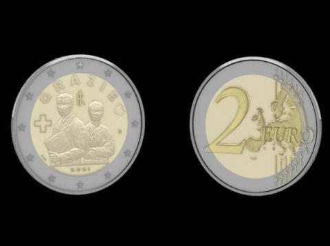 В Італії випустили монету в 2 євро на честь лікарів, які борються з коронавірусом