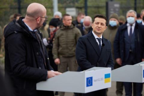 Президент: Присутність на лінії розмежування лідера ЄС демонструє, що Україна не залишається наодинці у прагненні до миру