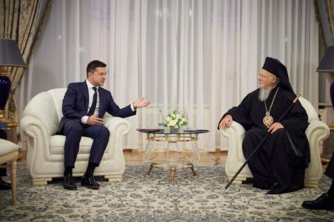 Володимир Зеленський зустрівся зі Вселенським Патріархом Варфоломієм, який прибув з візитом в Україну