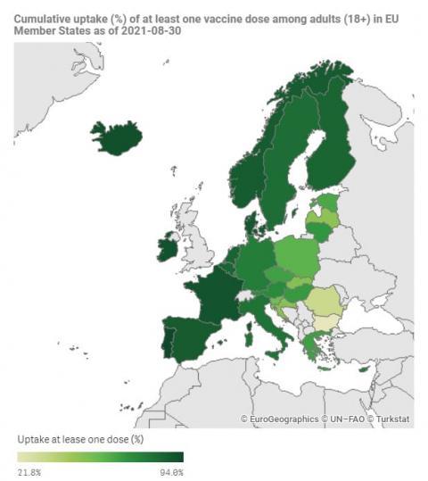 ЄС досягнув своєї цілі щодо 70% вакцинованих до кінця літа