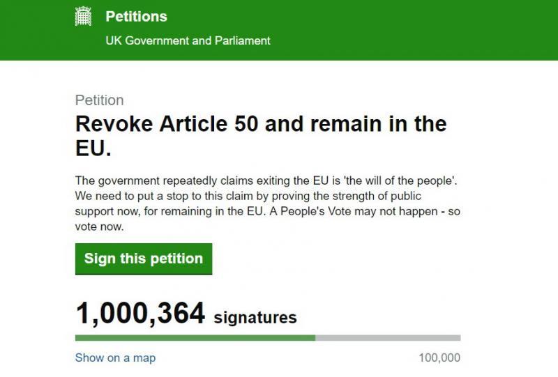 Петиція з вимогою скасувати Brexit набрала мільйон підписів