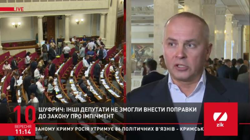 Голосуванням за закон про імпічмент «Слуга народу» порушила Конституцію, – Шуфрич