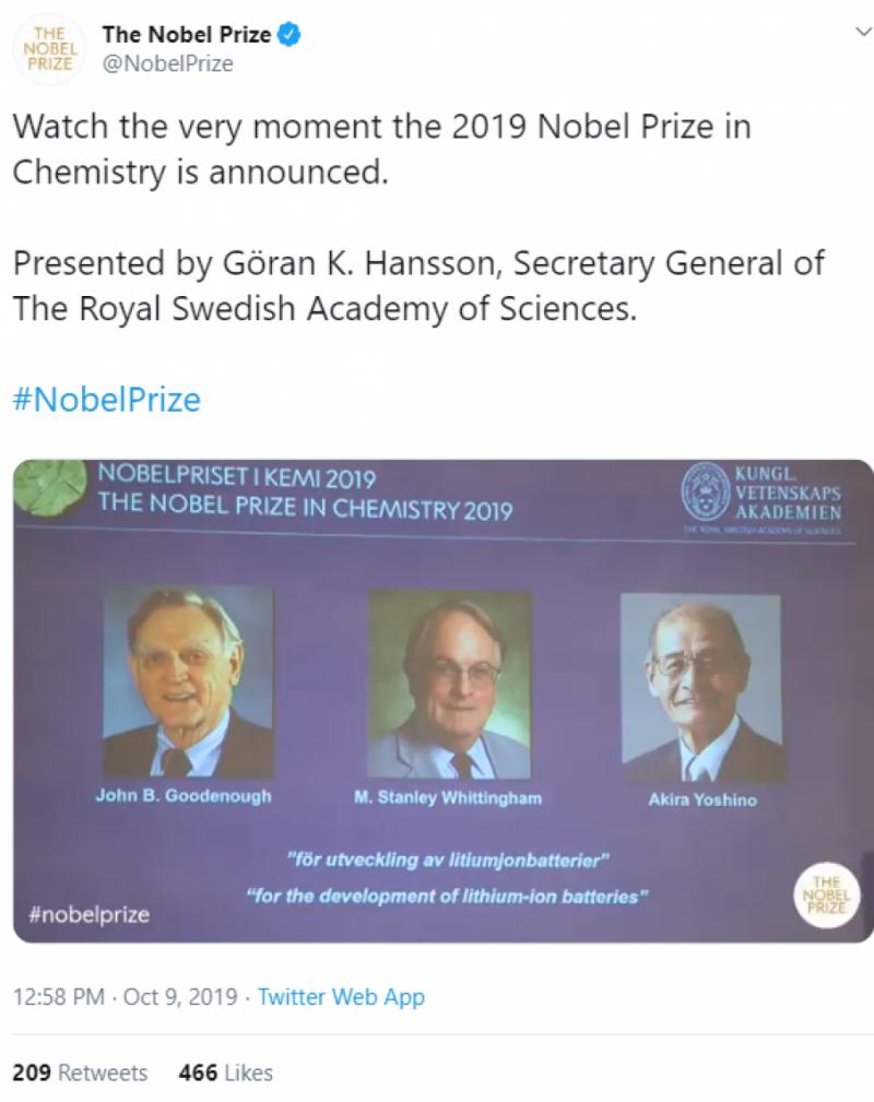 Батарея в мобільному, клітинне дихання та теорія Всесвіту: за що отримують Нобелівські премії цього року