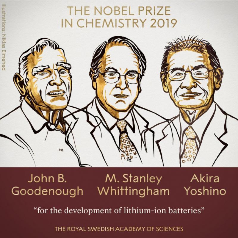 Нобелівську премію з хімії присудили за розробку літій-іонних акумуляторів