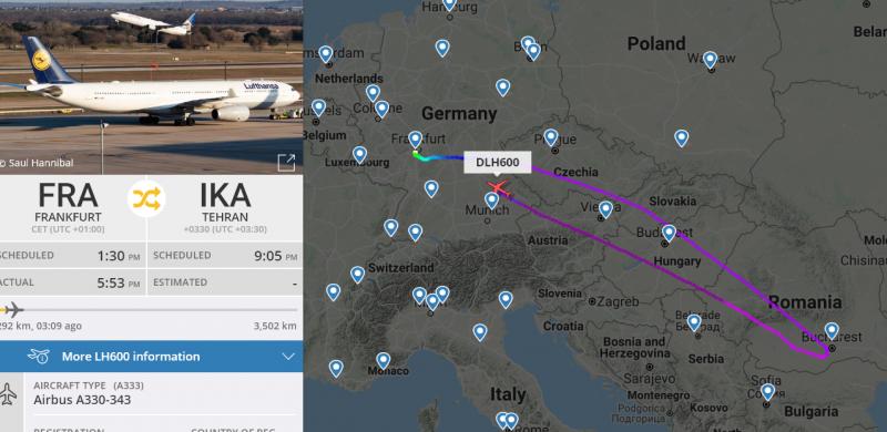 Lufthansa відновила рейси у Тегеран, але розвернула літак після заяв із США про ракету