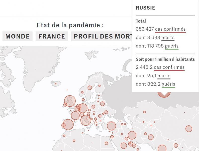 """Французька газета Le Monde опублікувала карту COVID-19 з """"російським"""" Кримом"""