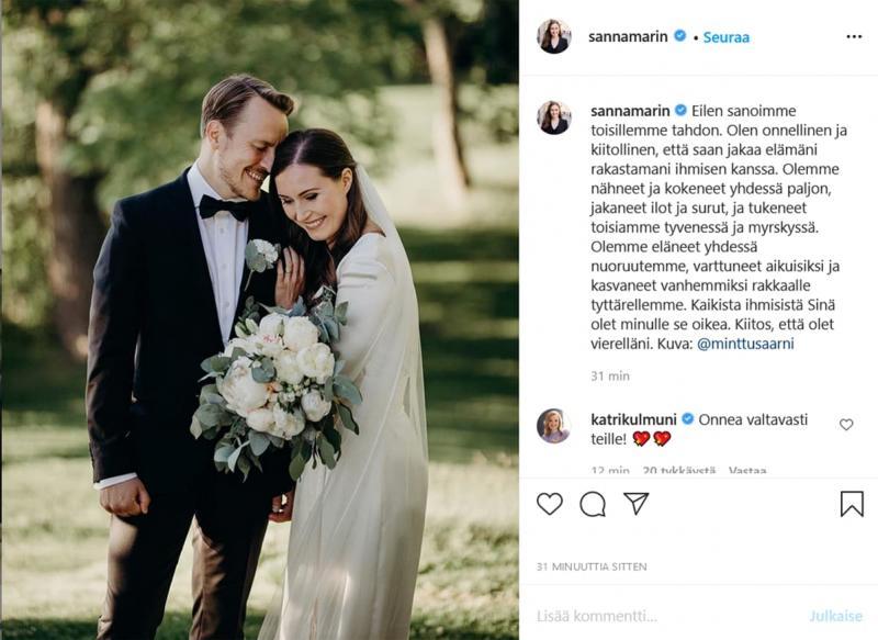 Прем'єрка Фінляндії вийшла заміж