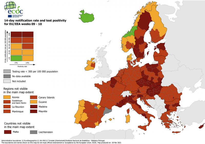 В агентстві ЄС розповіли, в яких країнах ситуація з коронавірусом найгірша